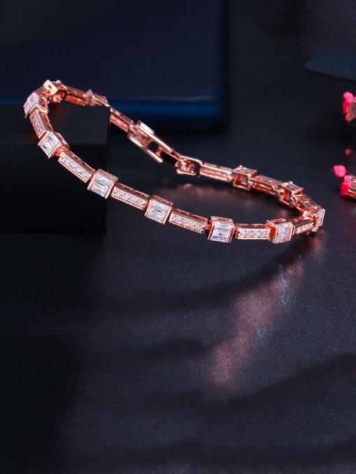 white Brass Cubic Zirconia Geometric Dainty Bracelet