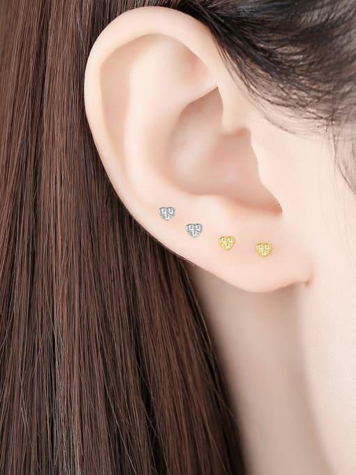CCUI 925 Sterling Silver Cubic Zirconia Heart Minimalist Stud Earring 1