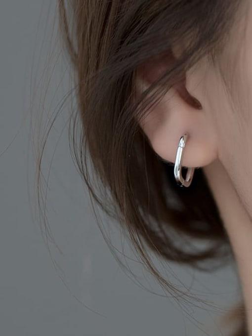 Rosh 925 Sterling Silver Hollow Geometric Minimalist Huggie Earring 1