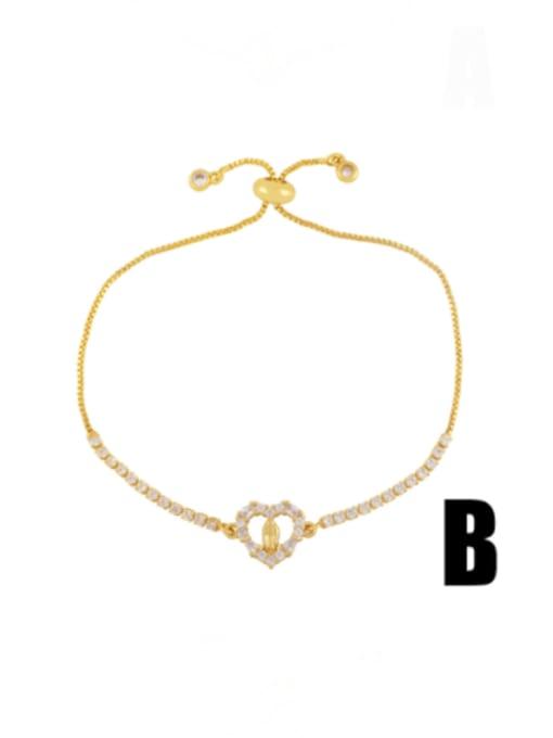 B Brass Cubic Zirconia Evil Eye Vintage Adjustable Bracelet