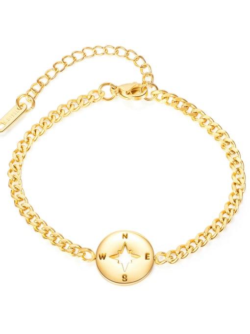 gold Titanium Steel Heart Minimalist Link Bracelet