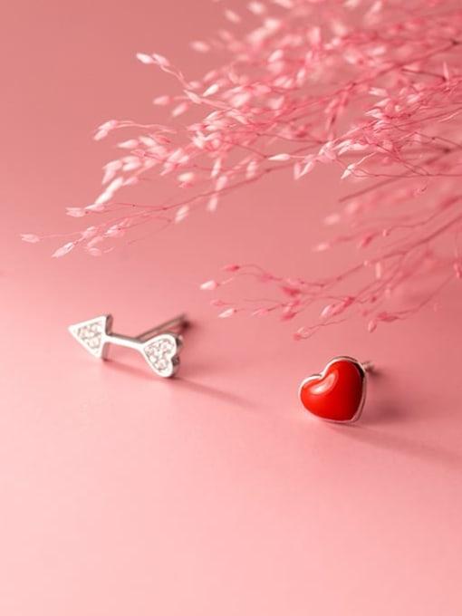 Rosh 925 Sterling Silver Enamel Asymmetric red love  Heart Minimalist Stud Earring 1