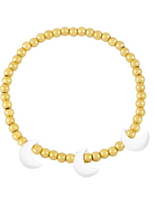 white Brass Enamel Moon Minimalist Beaded Bracelet