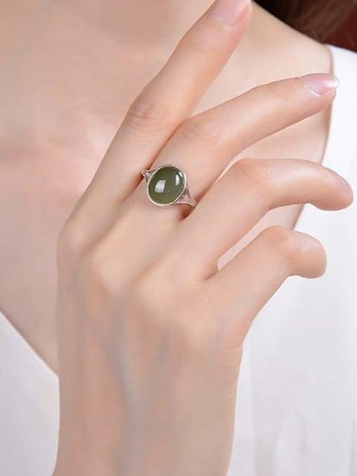 DEER 925 Sterling Silver Jade Oval Vintage Band Ring 1