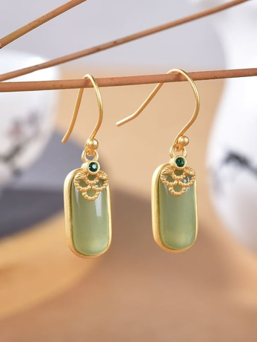 Gold plated (a pair) 925 Sterling Silver Jade Geometric Vintage Hook Earring