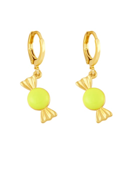 yellow Brass Enamel Irregular Candy Trend Huggie Earring