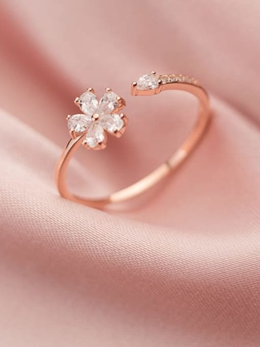 Rosh 925 Sterling Silver Cubic Zirconia Flower Minimalist Band Ring