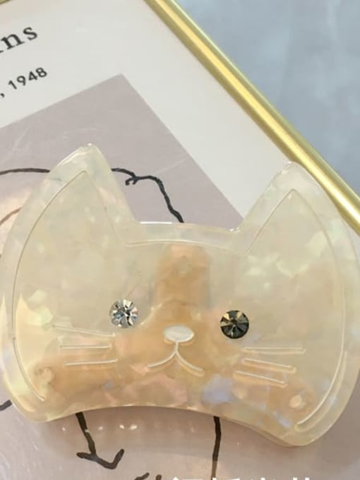 A109 flashing Beige Alloy Cellulose Acetate Acrylic Cat Hair Scratch Hairpin Medium Jaw Hair Claw
