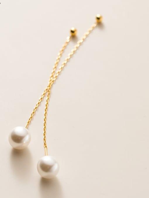 Rosh 925 Sterling Silver Imitation Pearl Tassel Minimalist Threader Earring