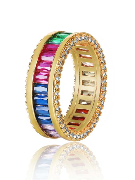 DUDU Brass Cubic Zirconia Geometric Luxury Band Ring 0