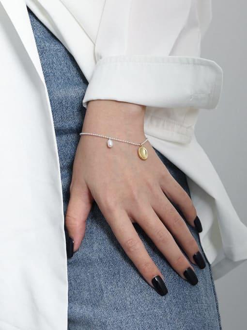 DAKA 925 Sterling Silver Geometric Minimalist Link Bracelet 2