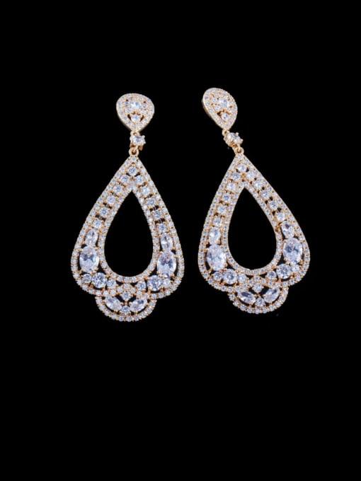 Golden white Brass Cubic Zirconia Water Drop Luxury Drop Earring