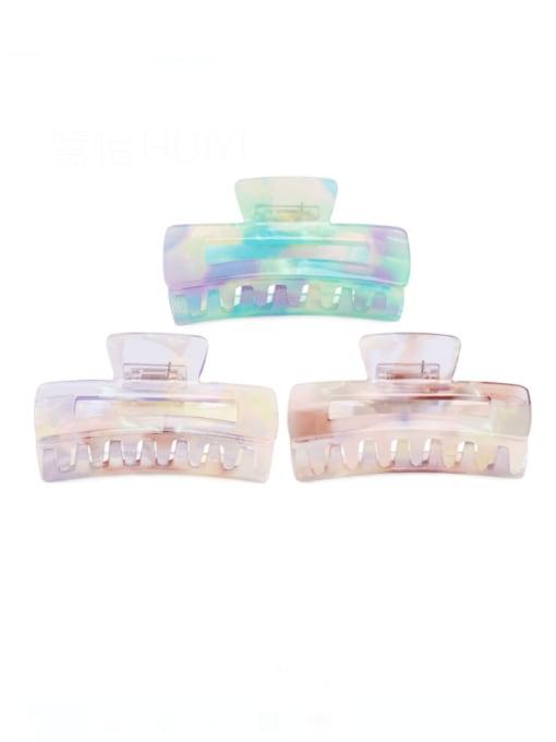 HUIYI Cellulose Acetate Minimalist Geometric Zinc Alloy Multi Color Jaw Hair Claw 0