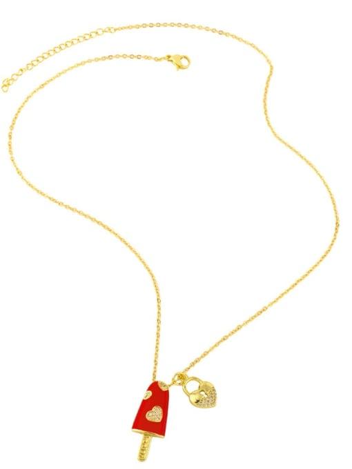 CC Brass Cubic Zirconia Enamel Heart Minimalist Necklace 3