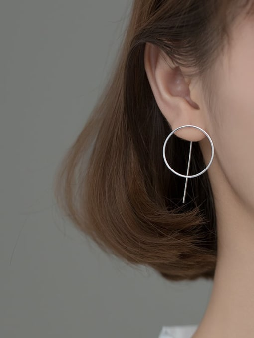 Rosh 925 Sterling Silver Hollow Geometric Minimalist Stud Earring 1