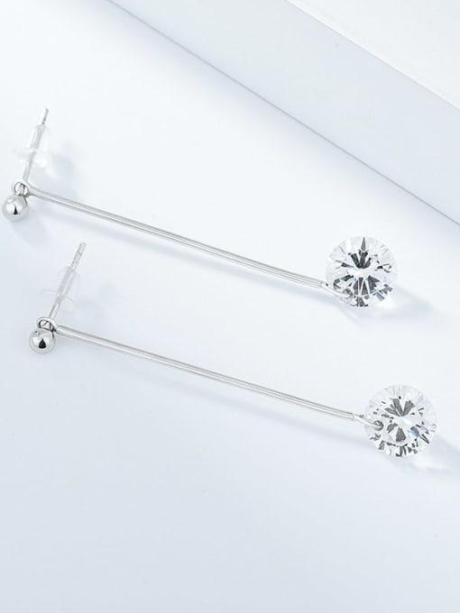Diamond Earrings 925 Sterling Silver Rhinestone Tassel Minimalist Threader Earring
