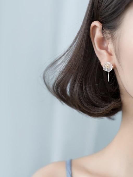 Rosh 925 Sterling Silver Acrylic Flower Minimalist Stud Earring 1