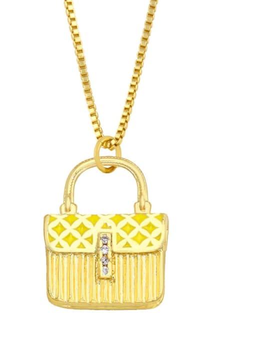 yellow Brass Cubic Zirconia Enamel Geometric Minimalist Necklace