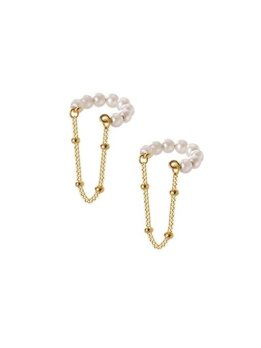 Rosh 925 Sterling Silver Imitation Pearl Geometric Minimalist Threader Earring 3