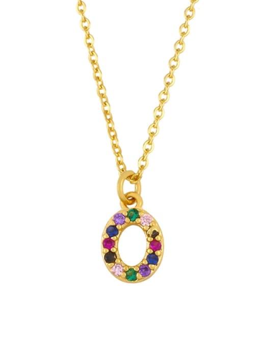 O Brass Cubic Zirconia Letter Vintage Necklace