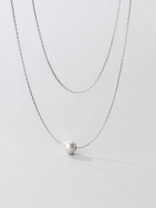 Rosh 925 Sterling Silver Imitation Pearl Round Minimalist Multi Strand Necklace 2