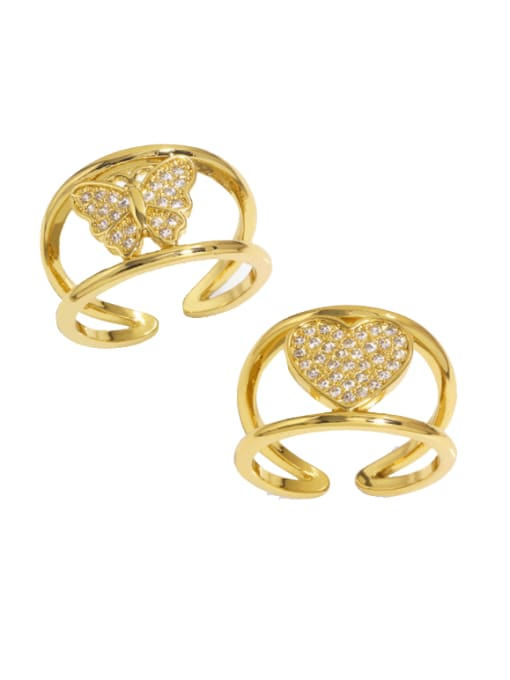 CC Brass Cubic Zirconia Heart Vintage Band Ring