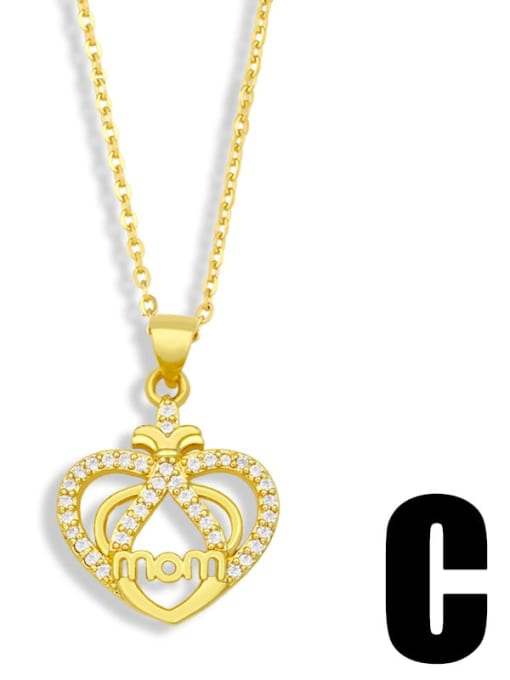 C Brass Cubic Zirconia Mom Heart Minimalist Necklace