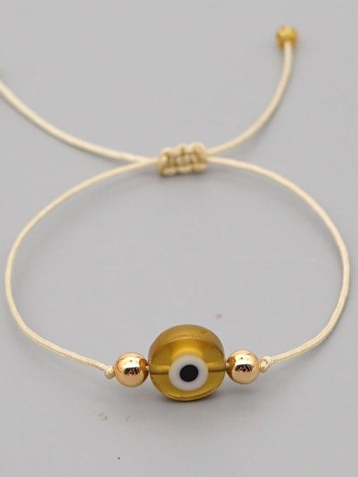 QT B200188G Stainless steel Bead Evil Eye Bohemia Adjustable Bracelet