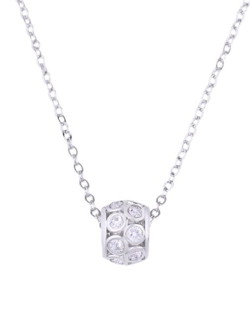 platinum Brass Cubic Zirconia Locket Dainty Necklace