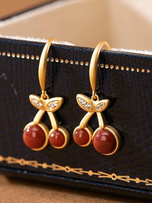 South Red 925 Sterling Silver Carnelian Friut Vintage Hook Earring