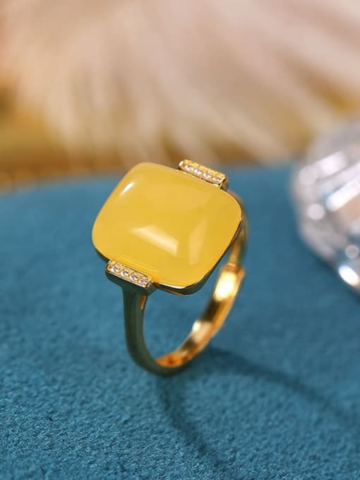 DEER 925 Sterling Silver Opal Square Minimalist Band Ring