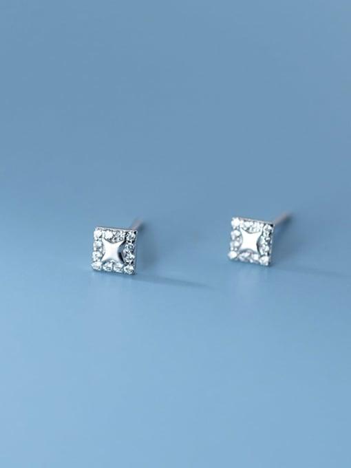 Rosh 925 Sterling Silver Rhinestone Square Minimalist Stud Earring