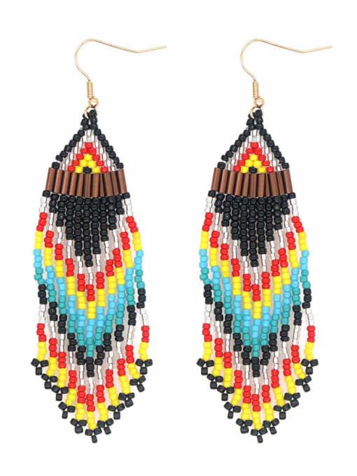 Roxi Stainless steel MGB  Bead Multi Color Tassel Bohemia Hook Earring