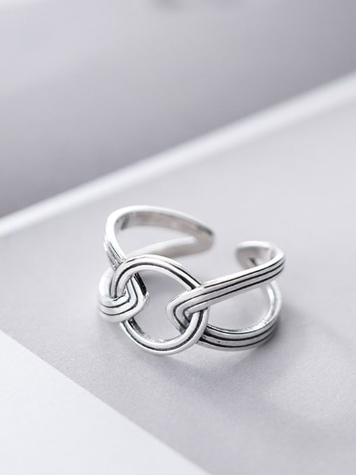 Rosh 925 Sterling Silver hollow Geometric Ethnic Band Ring