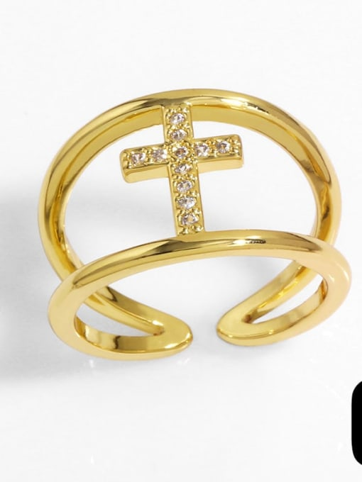 CC Brass Cubic Zirconia Heart Vintage Band Ring 3