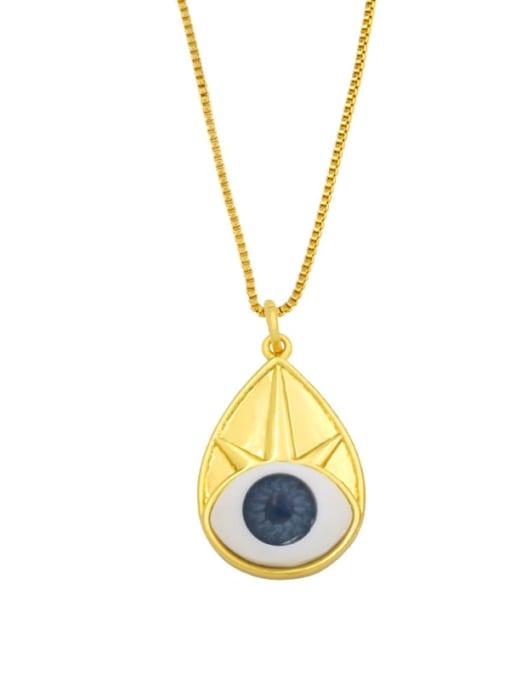A Brass Cubic Zirconia Evil Eye Vintage Necklace