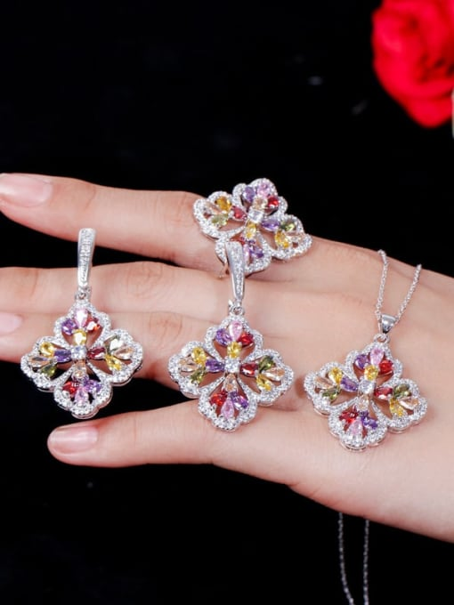 L.WIN Brass Cubic Zirconia Luxury Flower  Earring Ring and Necklace Set 2