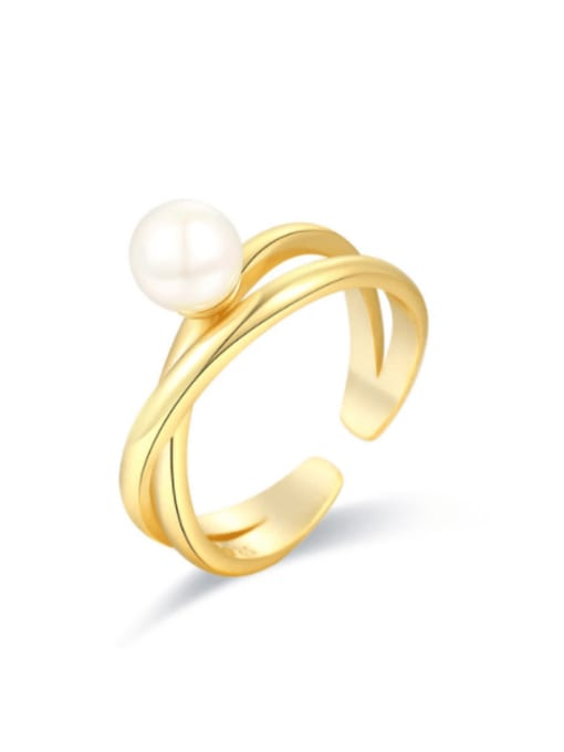 Boomer Cat 925 Sterling Silver Imitation Pearl Geometric Minimalist Stackable Ring 0