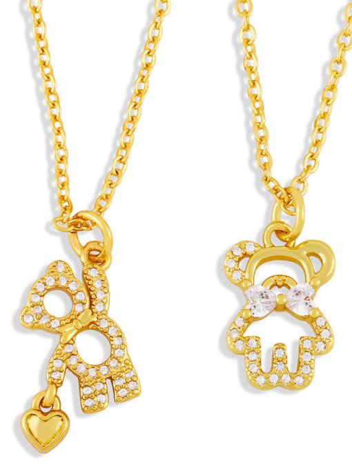 CC Brass Cubic Zirconia  Hollow Bear Minimalist Necklace