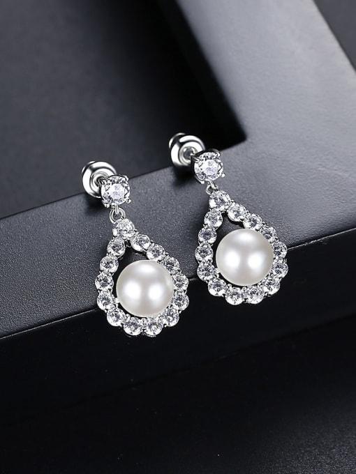 BLING SU Brass Cubic Zirconia Water Drop Luxury Drop Earring 2