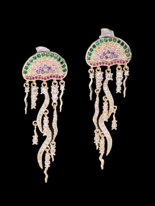 Luxu Brass Cubic Zirconia Tassel Trend Drop Earring