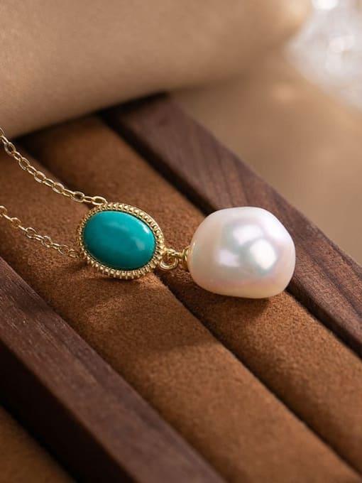 DEER 925 Sterling Silver Turquoise Irregular  Vintage Pendant 2