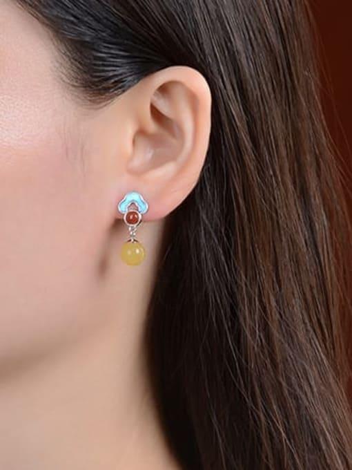 DEER 925 Sterling Silver Jade Flower Vintage Drop Earring 2
