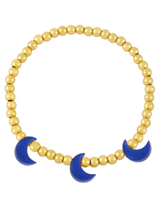 Dark blue Brass Enamel Moon Minimalist Beaded Bracelet