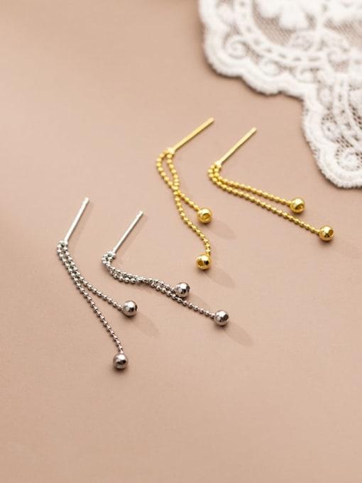 Rosh 925 Sterling Silver Bead Tassel Minimalist Threader Earring 1