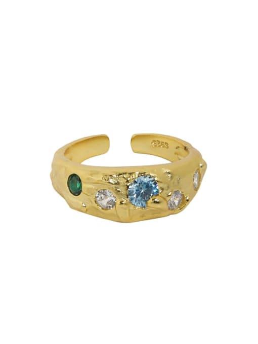 DAKA 925 Sterling Silver Glass Stone Irregular Vintage Band Ring
