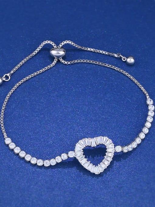 CC Brass Cubic Zirconia Heart Dainty Adjustable Bracelet
