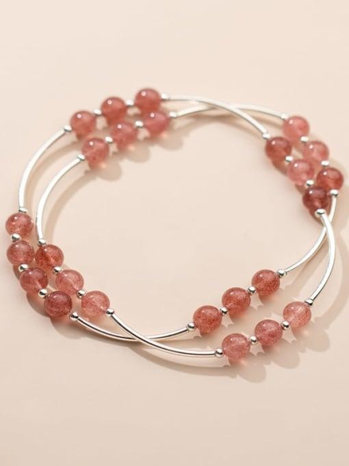 Rosh 925 Sterling Silver Round Strawberry crystal Minimalist Stretch Bracelet 3
