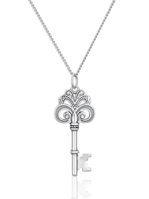 Boomer Cat 925 Sterling Silver Irregular Vintage Key Pendant Necklace