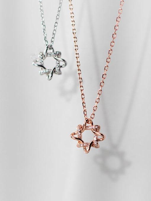 Rosh 925 Sterling Silver Rhinestone Flower Minimalist Necklace 0